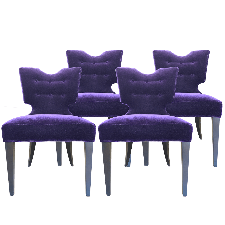 DwellStudio Purple Velvet Dining Chair Set of 4